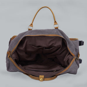 Cotton canvas and leather hold-all bag