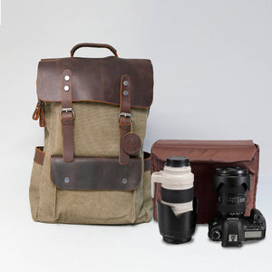 Cotton and leather Camera Backpack in Army Green