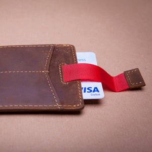 Leather money clip and card holder