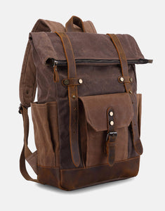 The Malmesbury Waxed Canvas and Leather Backpack