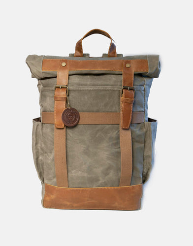 The Moreton XL Waxed Canvas Roll Top Backpack