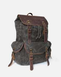 The Sherbourne waxed canvas and leather backpack