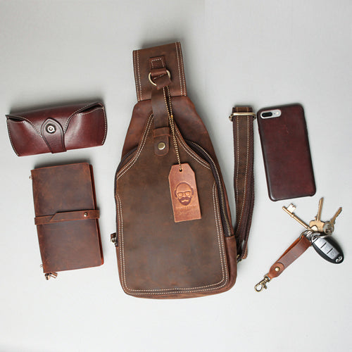 Leather sling bag, cross body bag
