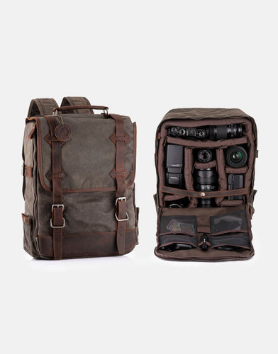 The Stanton Pro waxed canvas and leather Camera Backpack