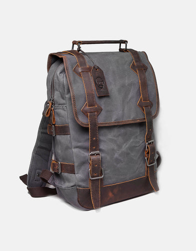 The Stanton Heavy Grade Waxed Canvas and Leather Backpack