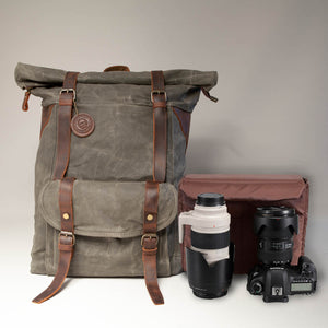 Large Waxed Canvas camera Backpack 2019