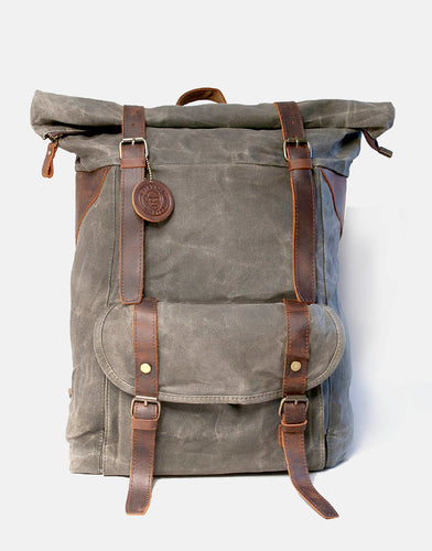 The Stow XL Wax oiled roll top canvas and leather backpack with optional camera insert (2019)