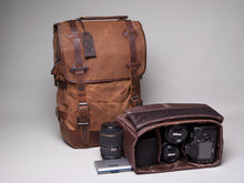 The Stanton Heavy Grade Waxed Canvas and Leather Camera Bag Backpack