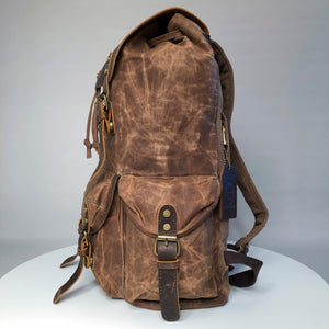 The Sherbourne waxed canvas and leather backpack 2019