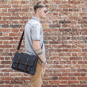 The Windrush waxed canvas messenger bag. The perfect everyday bag.