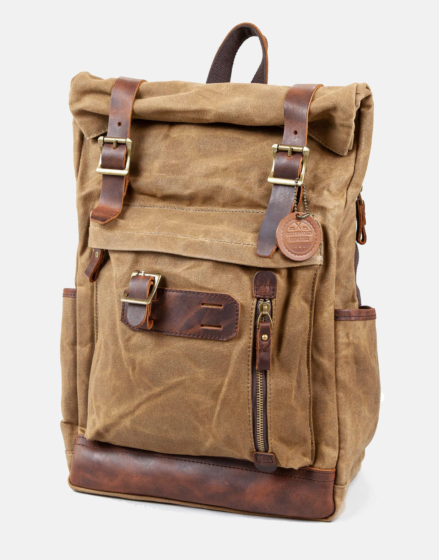 Waxed canvas and leather backpack (The Whichford Backpack)