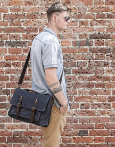 The Windrush Waxed Canvas and Leather Messenger Bag