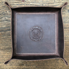 Leather valet tray and keyring gift set.