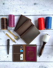 Leather passport wallet Hand stitched NEW