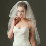 2 Layer Bridal Veil Trimmed with Beaded Scrollwork Wedding Veils with Comb