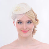Vintage Mesh Net Wool Felt Pillbox Flower Women Fascinator Hat Hair Clip