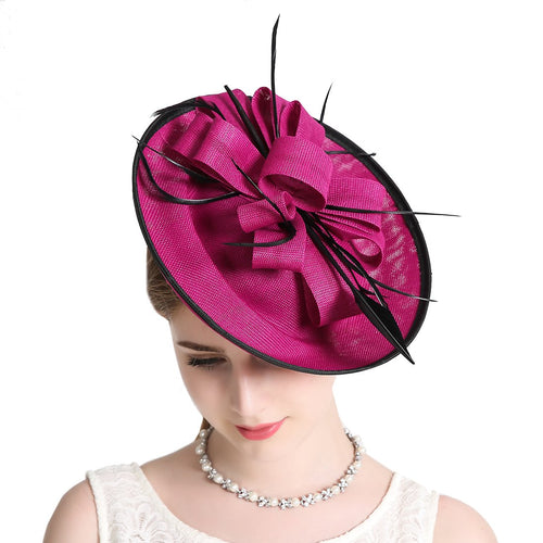 Fascinator Hat Derby Party Feather Floral Mesh Pillbox Red