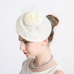 Women Pillbox Fascinator Hat Bridal Mesh Flower Hair Clip Accessories Cocktail