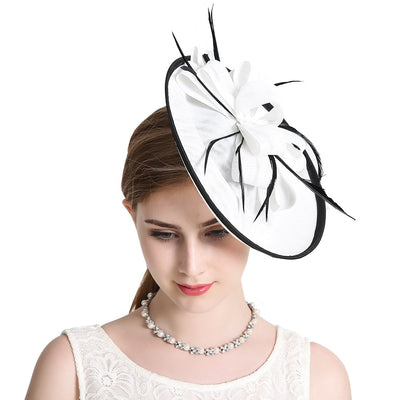 Vintage Feather Fascinator Hat Wedding Hair Clip Headwear Cocktail Royal Ascot