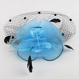 Mesh Hat Bow Feather Women Fascinator Dot Veil with Hair Clip Wedding Tea Party Derby