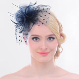 Flower Mesh Bow Feather Wedding Fascinator Dot Veil Hair Clip