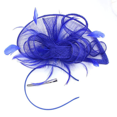 Sinamay & Feathers Twist Navy Fascinator Hat Blue Wedding Hats