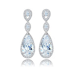8-Shape Clear Silver-Tone Cubic Zirconai Dangle Earrings