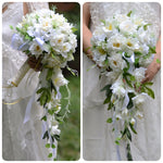 Artificial Wedding Flowers White Brides Teardrop Bouquet