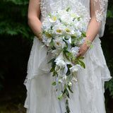 Artificial Wedding Flowers White Brides Waterfall Bouquet