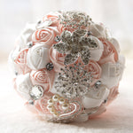 Beaded Rhinestone Pearls Holding Bouquet