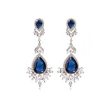 Blue Dangle Teardrop Crystal CZ Bridal Earrings