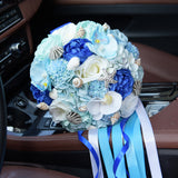 Blue Shell Brooch Bouquet (handmade) Ocean Theme Wedding Bouquet