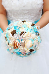 Blue shell brooch bouquet Handmade Ocean Theme Wedding Bouquet