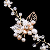 Bridal Faux Pearls Headpiece Hollow Leaves Rhinestone Vine pearl headband