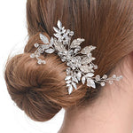 Bridal Handmade Silver Tone Crystal Hair Side Comb wedding hair accessories