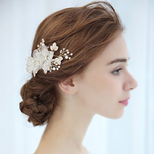 Bridal Vintage Hair Comb Crystal Rhinestone Pearl Flower Slides Wedding Hair Accessories