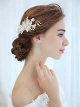 Bridal Vintage Hair Comb Crystal Rhinestone Pearl Flower Slides wedding hair pieces