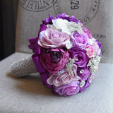 Bride Rose Bouquet-Lavender Rose Peony Purple Theme Wedding Flowers With Crystal Rhinestone