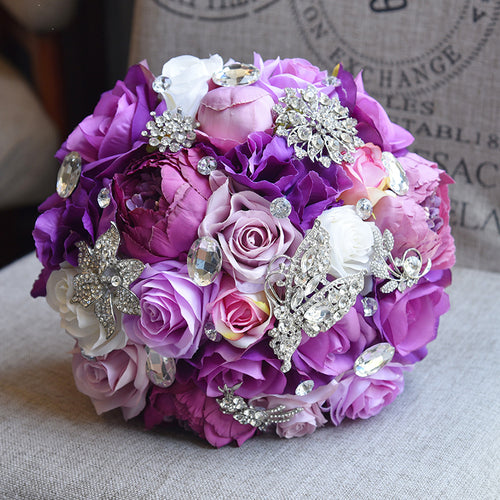 Peony Inspired Wedding Ideas: Bride Rose Bouquet-Lavender Rose Peony Purple Theme