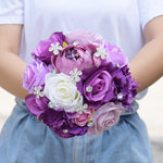 Bridemaid Rose Bouquet-Lavender Rose Peony Purple Theme Wedding Flowers