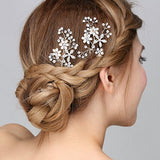 Brides Pearl and Crystal Floral Hair Pins Wedding Prom wedding hair accessories