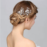 Brides Pearl and Crystal Floral Hair Pins Wedding Prom bridal hair pieces