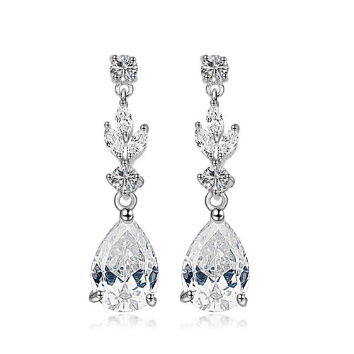 CZ Bridal Dangle Earrings with Bold Pear-Shaped Zircon Teardrops