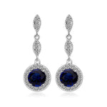 CZ Round Blue Teardrop Dangle Earrings