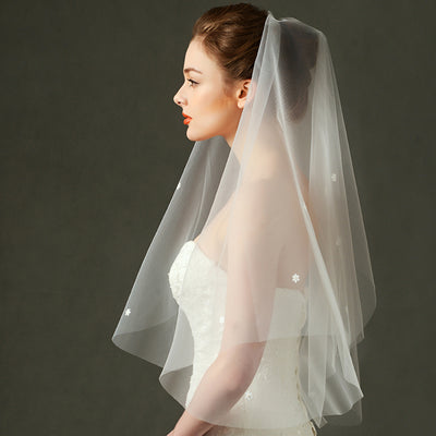 Cathedral Wedding Veil for Bride with Flower Printed