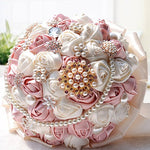 Crystal Pearls Silk Bridal Flowers Wedding Bouquet