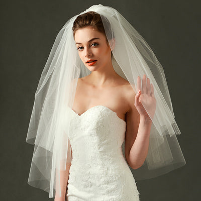 Double All-Match Puff Princess Bride Veil with Comb Short Wedding Accessories