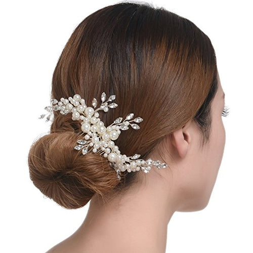 Elegant Cream Simulated Pearl Bridal Hair Comb Wedding Accessories