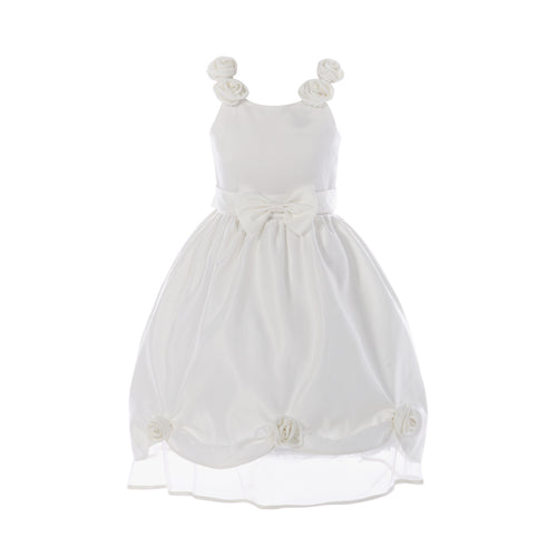 Flower Girl Dress Wedding Pageant White Shimmering Organza