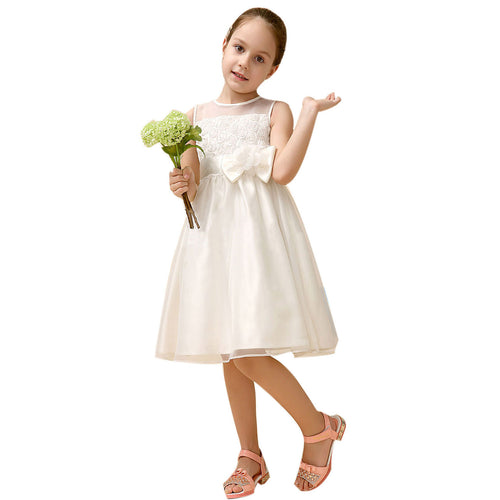 Girl Sleeveless Lace 3D Flower Tutu Holiday Princess Dresses